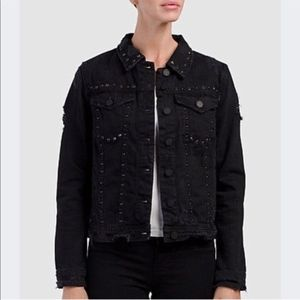 NWT BlankNYC Black Studded Rhinestone Denim Jacket